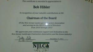 Bob Hibler Appreciation Award by NJLCA 2013